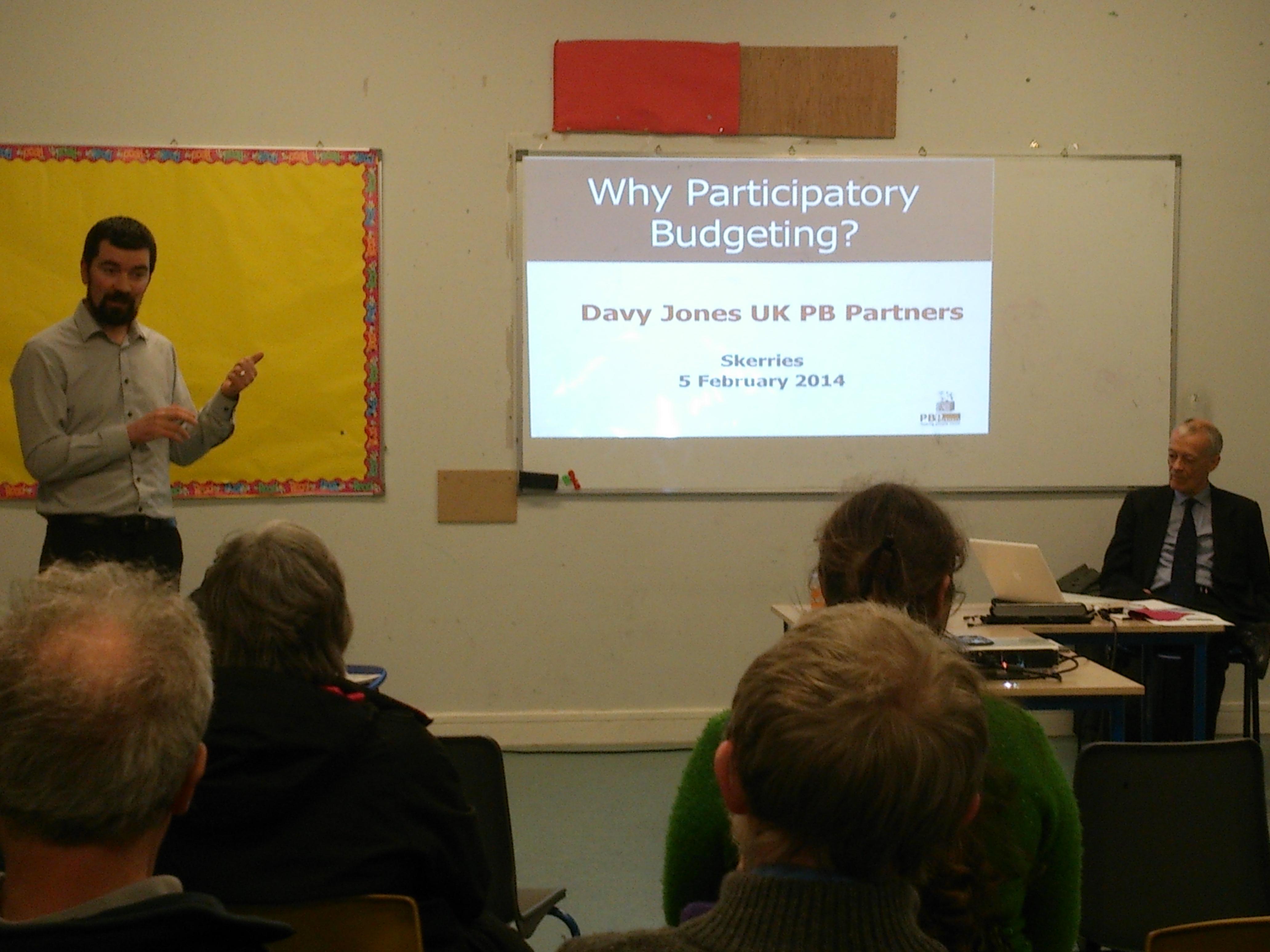Joe O'Brien promoting PB at public meeting in Skerries