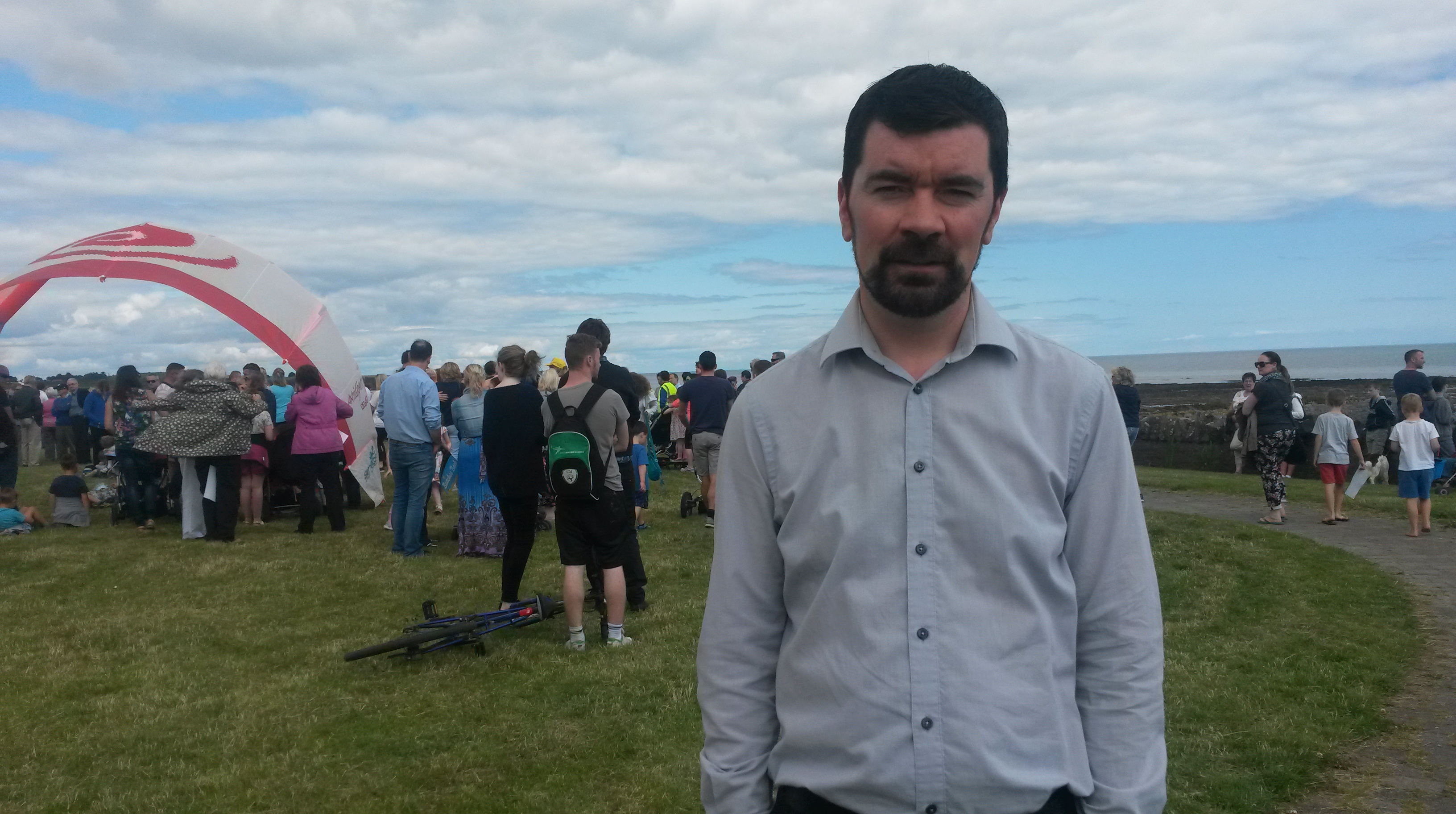 Joe at a public protest in Rush for the  delayed sewage treatment connection to Portrane treatment plant